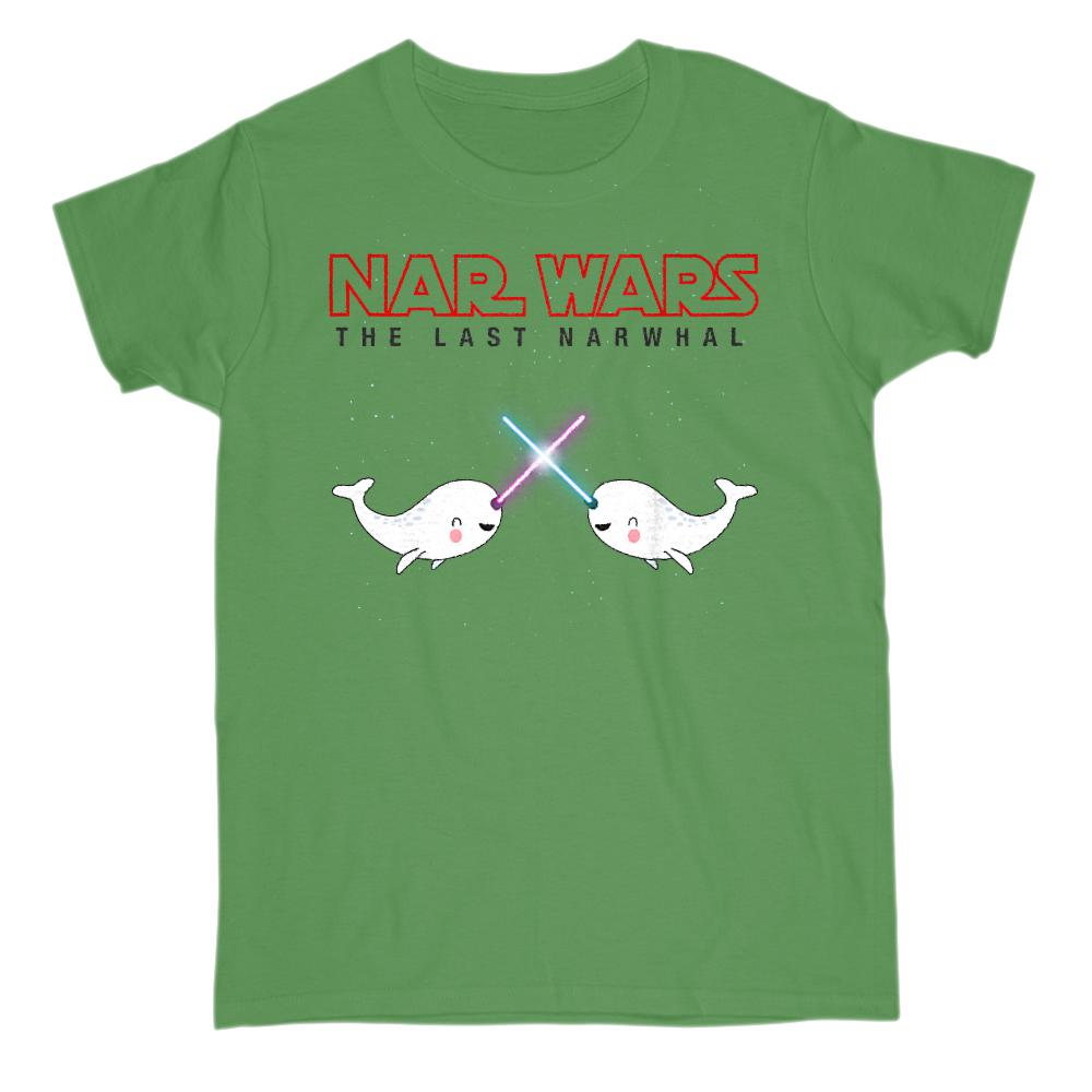 Cute Nar Wars Narwhal (women on Light Colors) Space Star Parody Graphic T-Shirt Tee BOXELS
