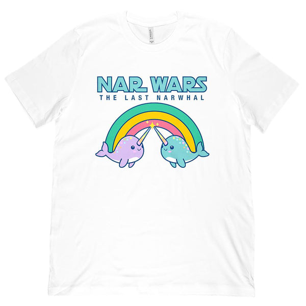 Cute Pastel Narwhals (Unisex BC 3001 Soft Tee) Rainbow Last Narwhal Graphic T-Shirt Tee BOXELS
