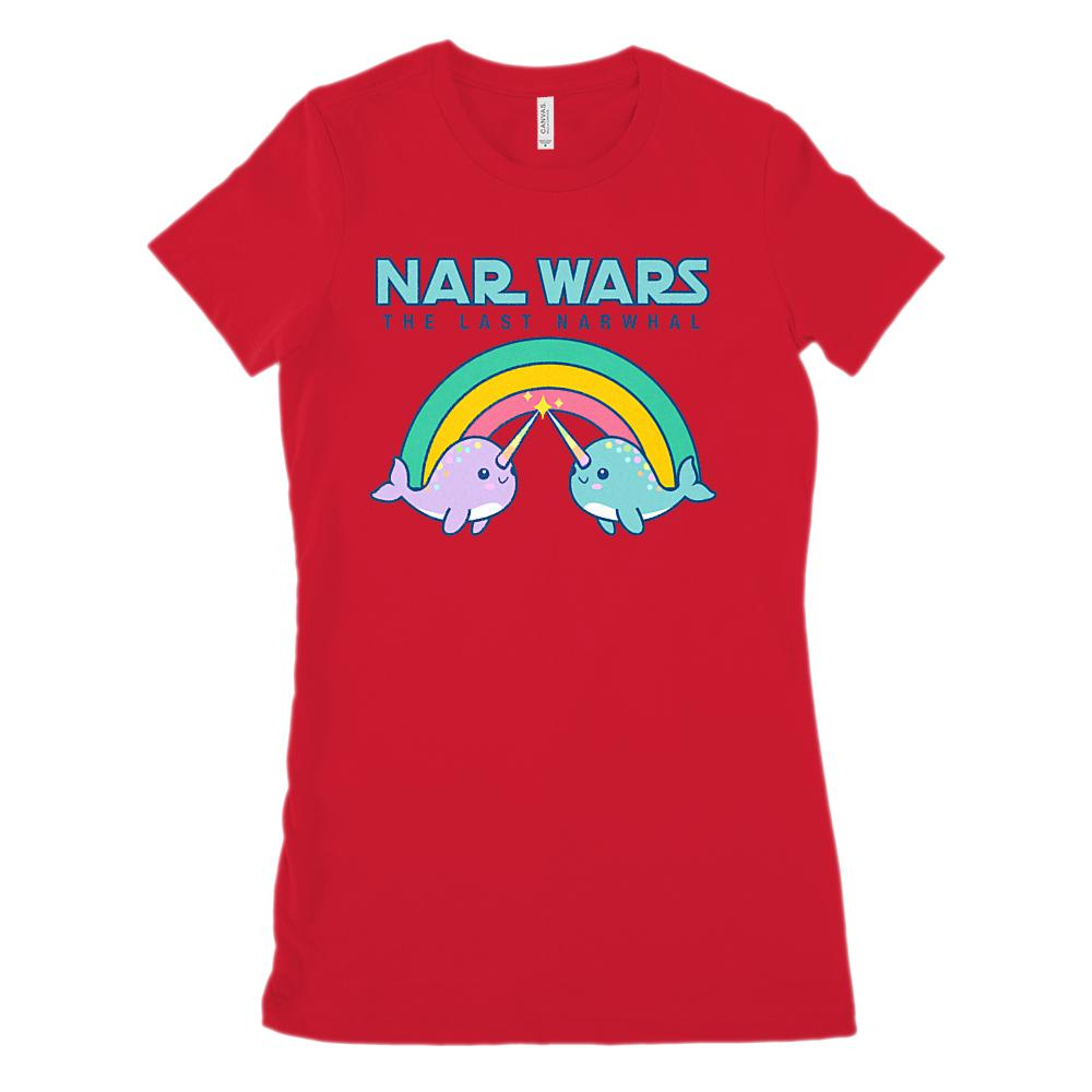 Cute Pastel Narwhals (Women's BC 6004 Soft Tee) Rainbow Last Narwhal Graphic T-Shirt Tee BOXELS