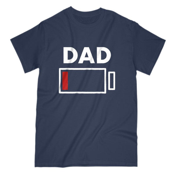 Dad Drained Battery Charge Funny Graphic Tee Graphic T-Shirt Tee BOXELS