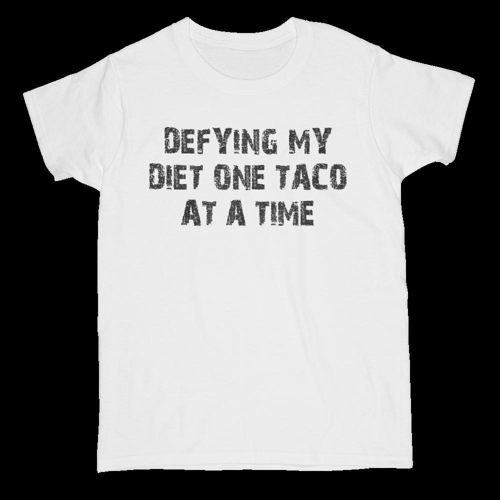 Defying My Diet One Taco at a Time funny Graphic Saying Tee Graphic T-Shirt Tee BOXELS