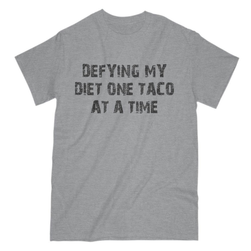 Defying My Diet One Taco at a Time funny Graphic Saying Tee