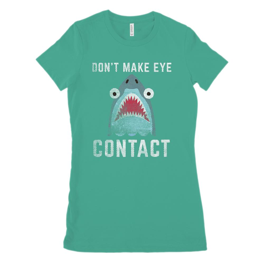 Don't Make Eye Contact Shark (Women's BC 6004 Soft Tee) Graphic T-Shirt Tee BOXELS