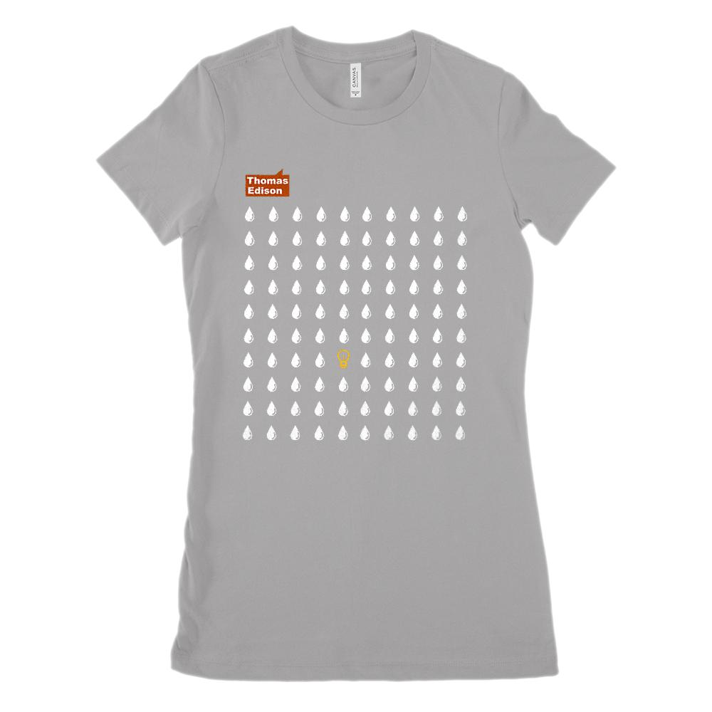 Edison 99% Perspiration Idea Bulb (Women's BC 6004 Soft Tee) Graphic T-Shirt Tee BOXELS