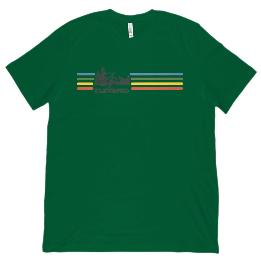Elevated Mountains Retro Rainbow Stripes (unisex BC 3001 Soft Tee) Graphic T-Shirt Tee BOXELS
