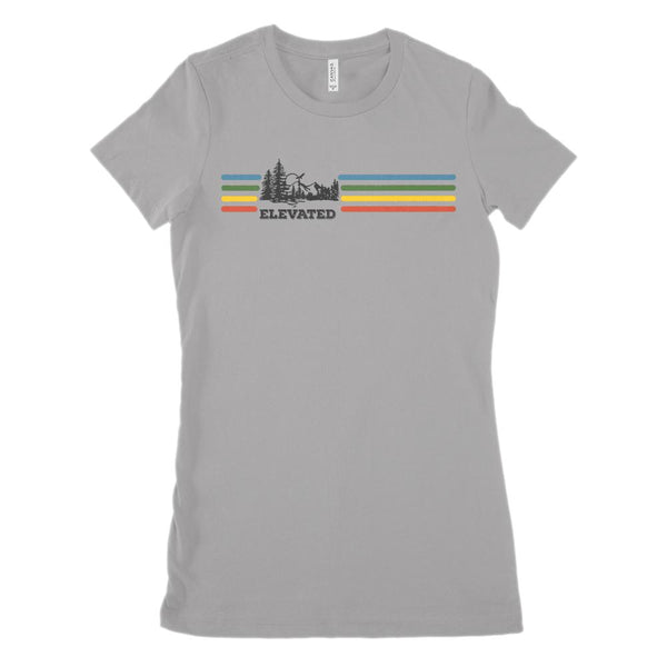 Elevated Retro Rainbow Stripe Outdoors (Women's BC 6004 Soft Tee) Graphic T-Shirt Tee BOXELS