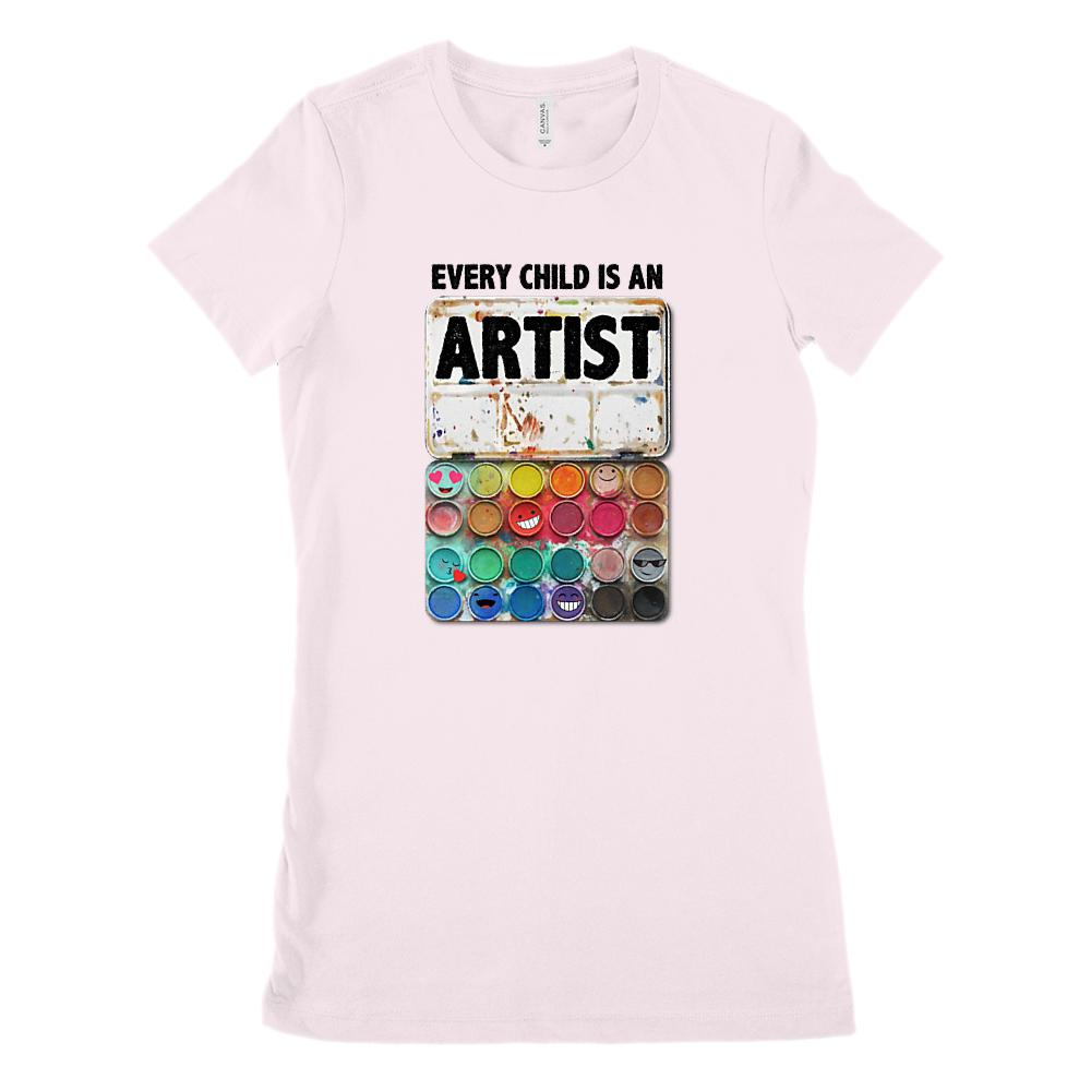 Every Child is An Artist Paint Set Art Teacher (Women's BC 6004 Soft Tee) Graphic T-Shirt Tee BOXELS