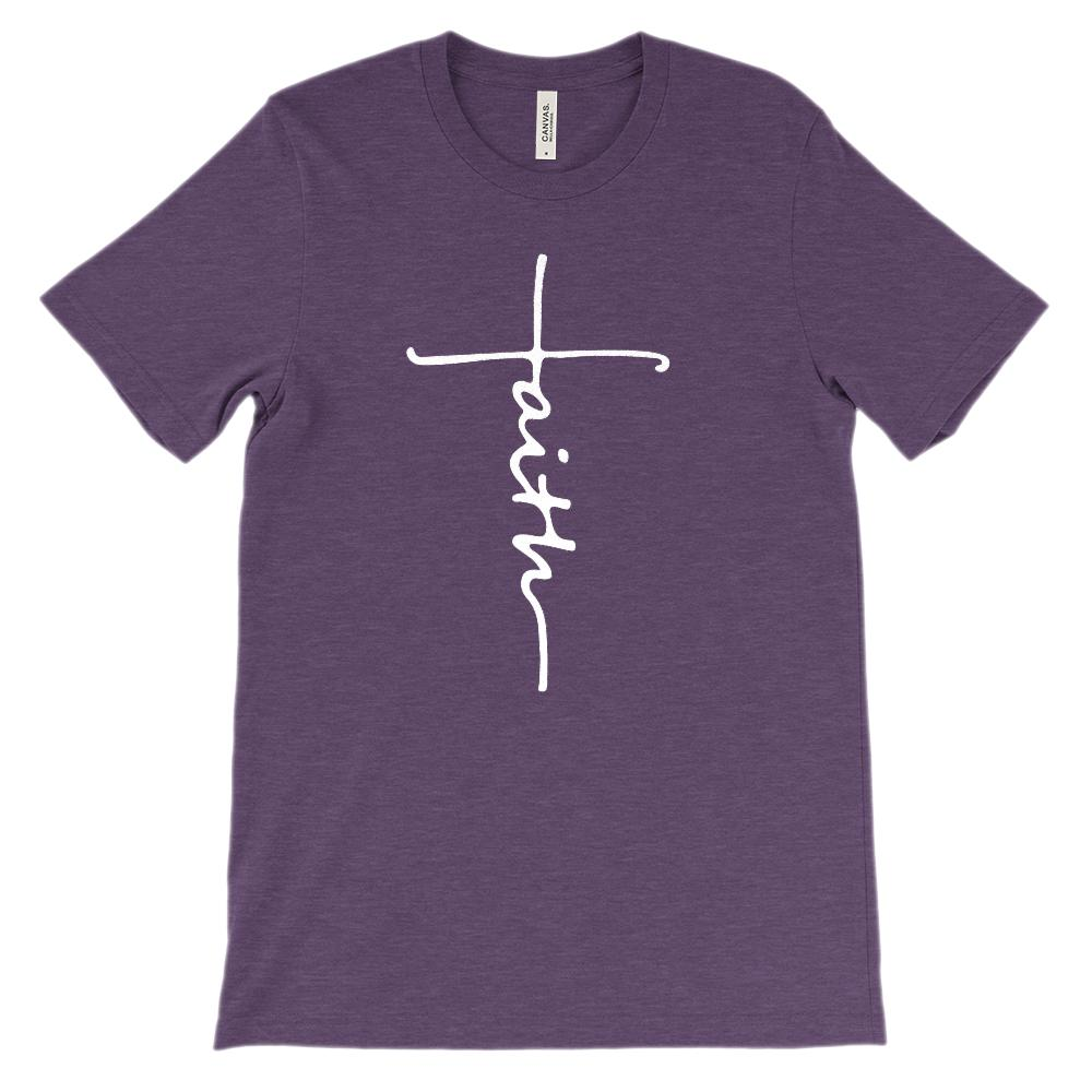Faith Cross Font (unisex BC 3001 Soft Tee Others) Christian, Gospel (white font) Graphic T-Shirt Tee BOXELS