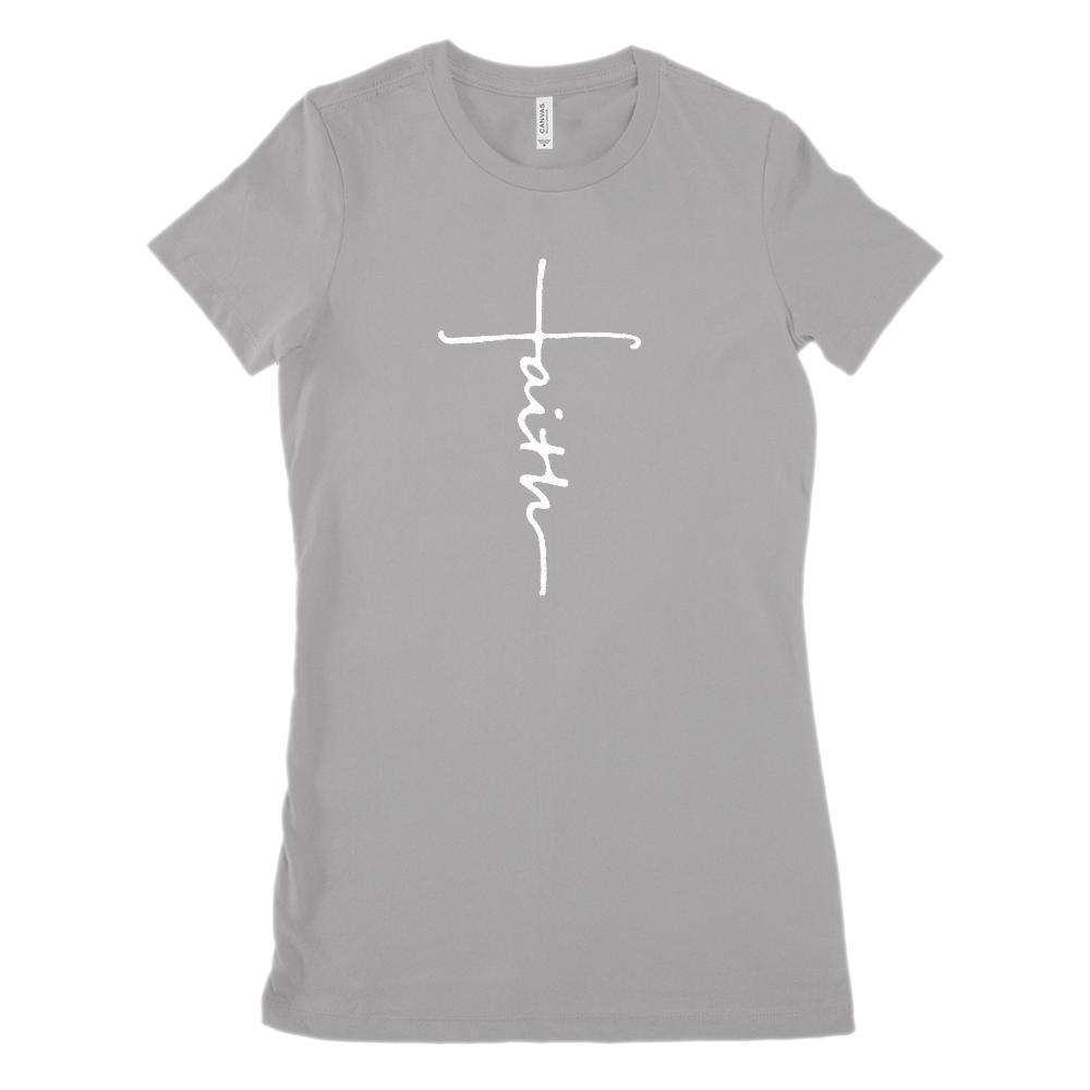 Faith Cross Font (Women's BC 6004 Soft Tee) Christian, Gospel Graphic T-Shirt Tee BOXELS