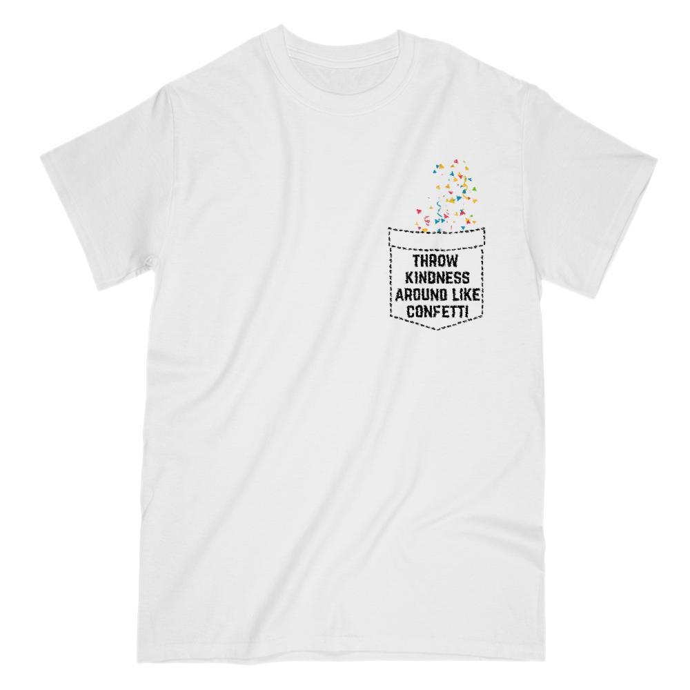 Fake Pocket Kindness Confetti (Women's Gildan Cotton Tee) Graphic T-Shirt Tee BOXELS