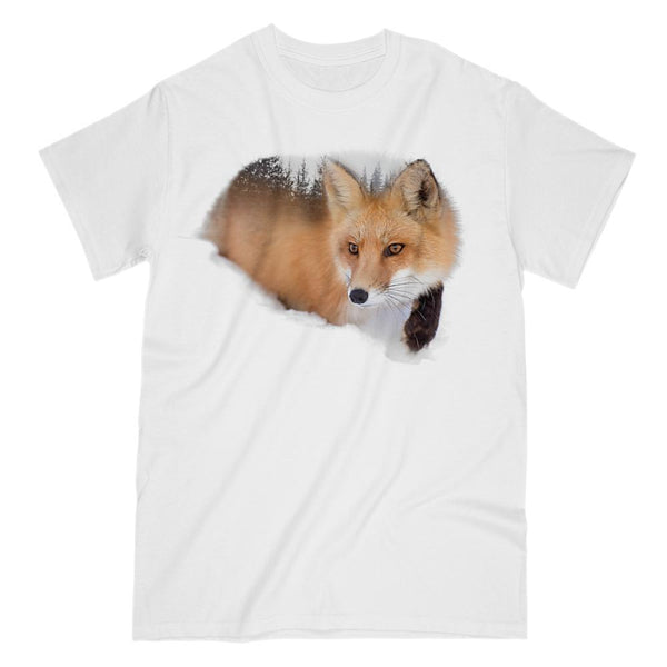 Forest Red Fox Double Exposure Graphic Tee Graphic T-Shirt Tee BOXELS
