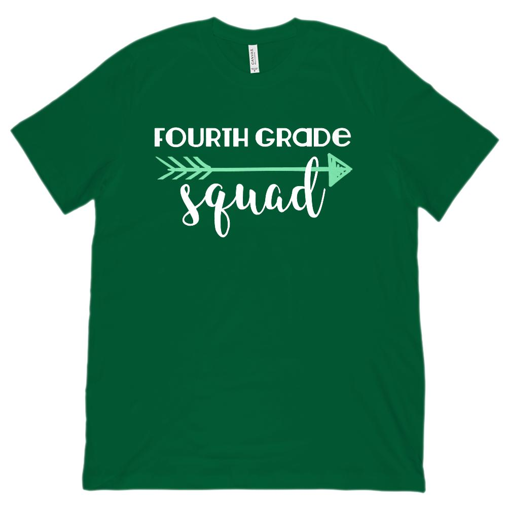 Fourth Grade Squad Teacher Mint Arrow (Unisex BC 3001 Soft Tee) Graphic T-Shirt Tee BOXELS