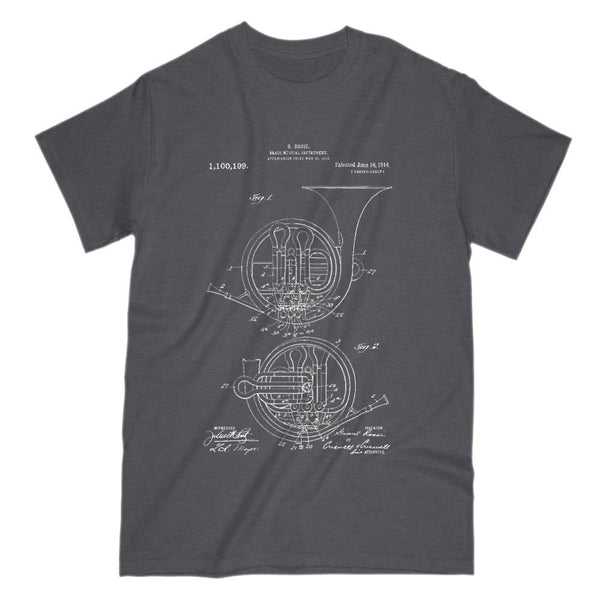 French Horn Patent Print - Musical Brass Instrument Graphic T-Shirt Tee BOXELS