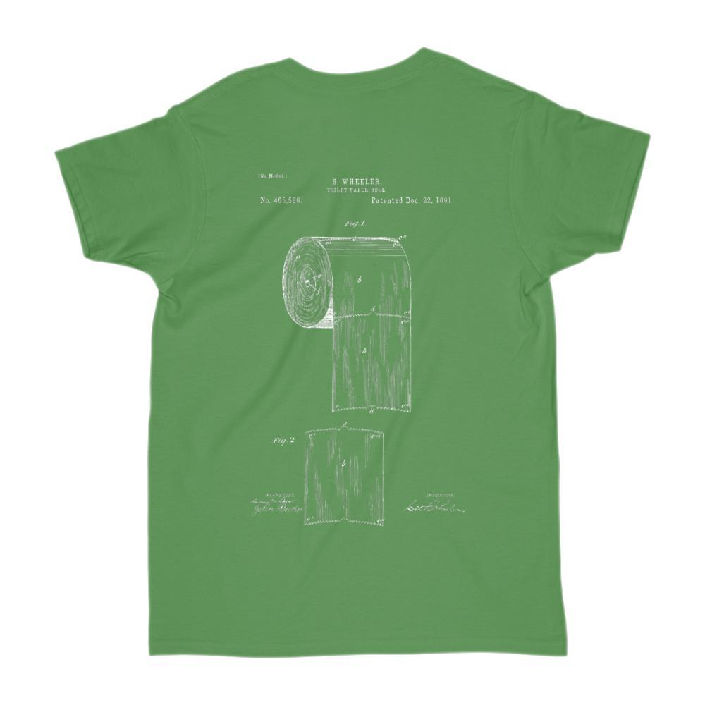 Front and Back Vintage Toilet Paper Roll Patent Graphic T-Shirt Graphic T-Shirt Tee BOXELS