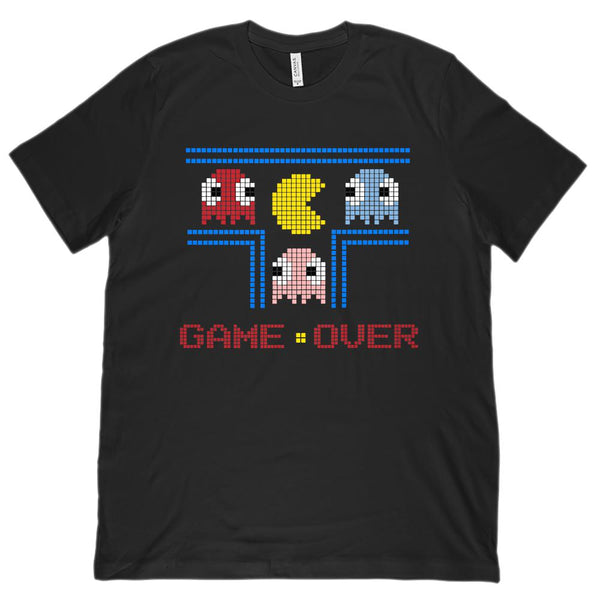 Game Over Retro Gamer (Unisex BC 3001 Soft Tee) Graphic T-Shirt Tee BOXELS