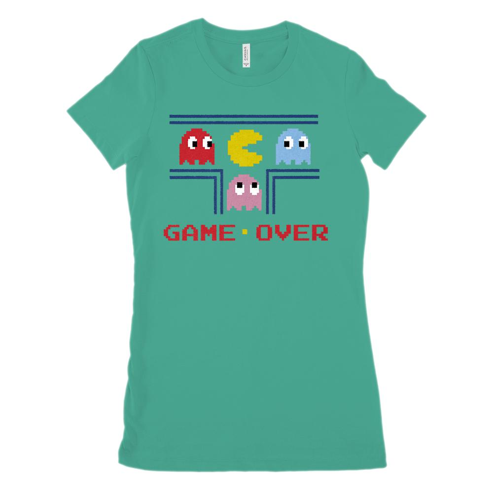 Game Over Retro Gamer (Women's BC 6004 Soft Tee) Graphic T-Shirt Tee BOXELS