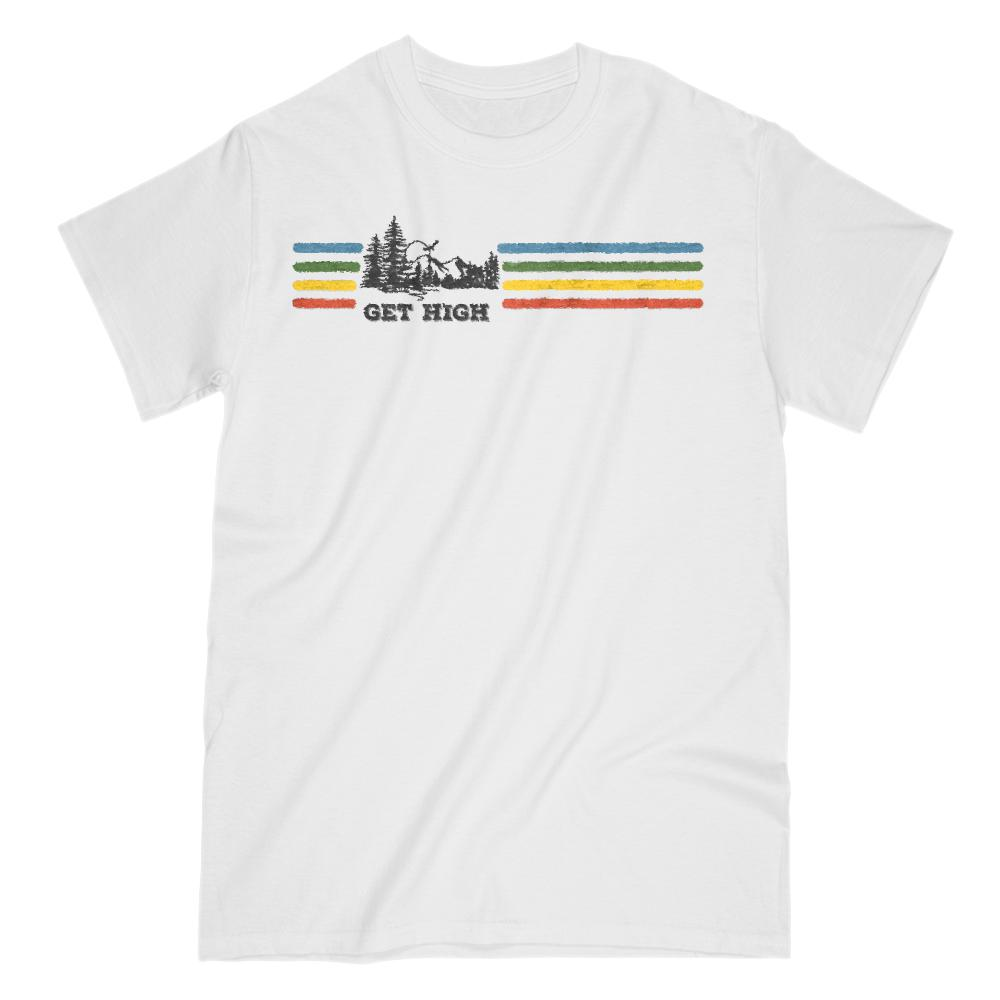 Get High Outdoors Retro Rainbow Tee Graphic T-Shirt Tee BOXELS