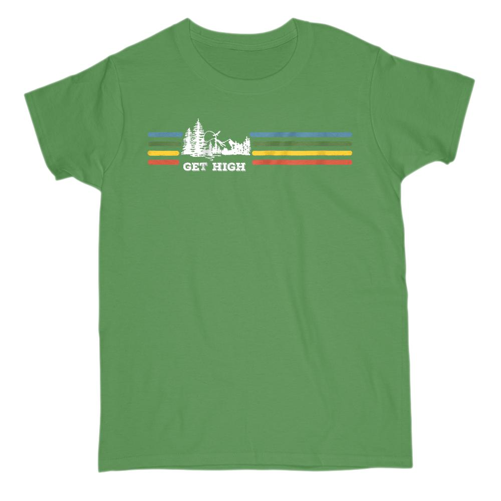 Get High Outdoors Retro Rainbow Tee (white font) Adults Graphic T-Shirt Tee BOXELS