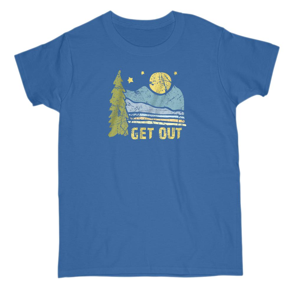 Get Out Outdoors Mountains Graphic Tee Graphic T-Shirt Tee BOXELS