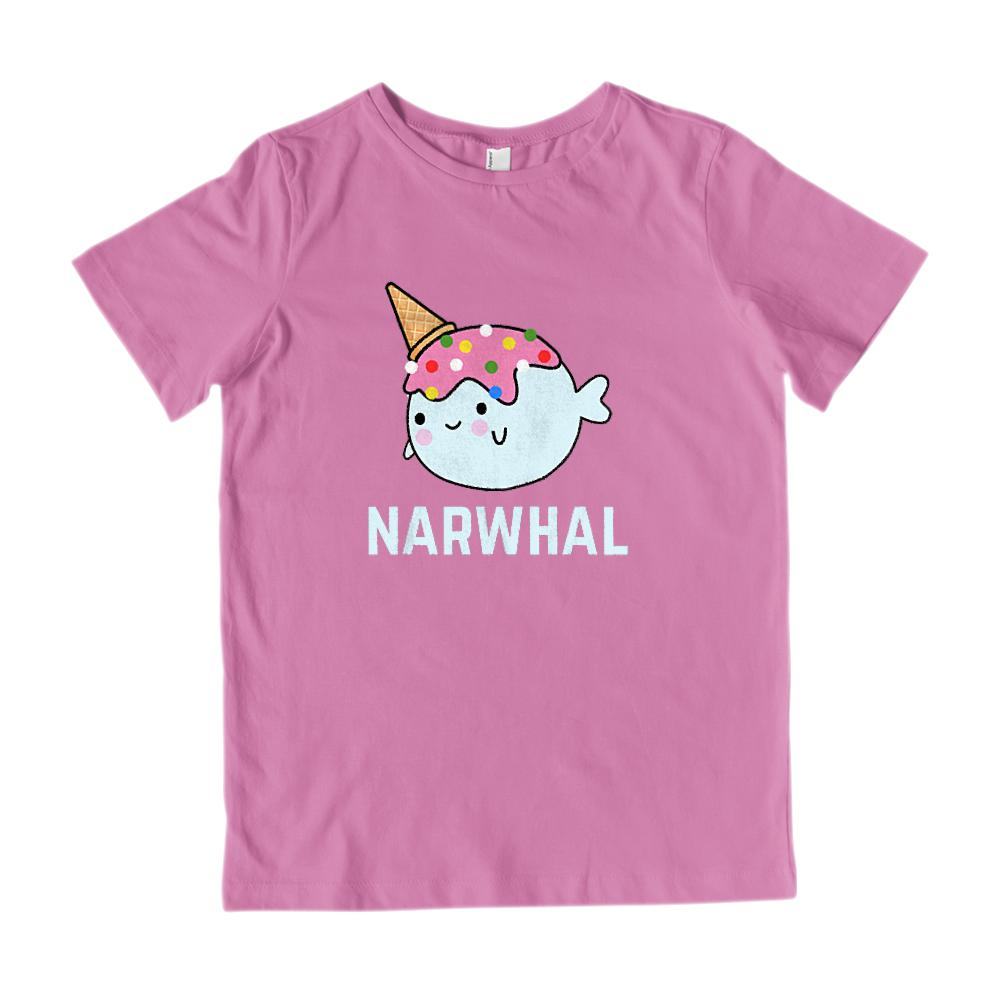 (Gildan Kid's Cotton Tee) Narwhal Icecream Cone Kawaii Kid's Graphic Tee Graphic T-Shirt Tee BOXELS