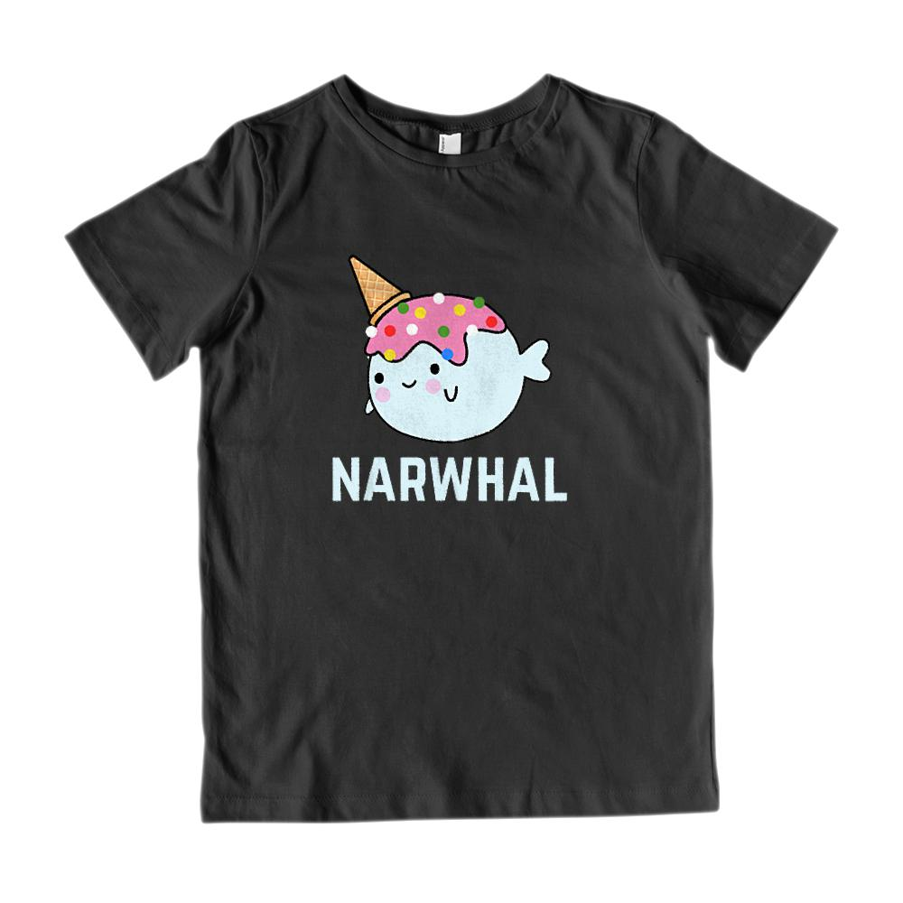 (Gildan Kid's Cotton Tee) Narwhal Icecream Cone Kawaii Kid's Graphic Tee