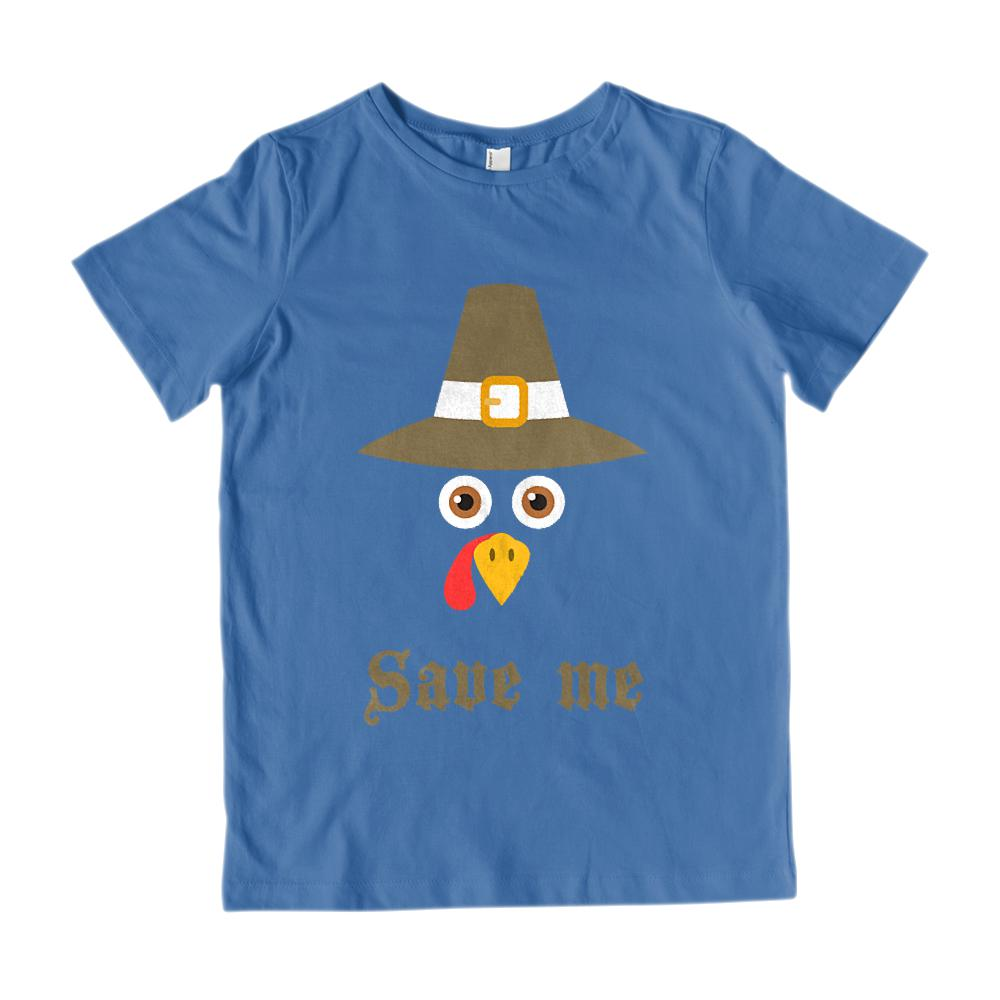 (Gildan Kid's Cotton Tee) Turkey Face Hat Thanksgiving Harvest Graphic T-Shirt Tee BOXELS