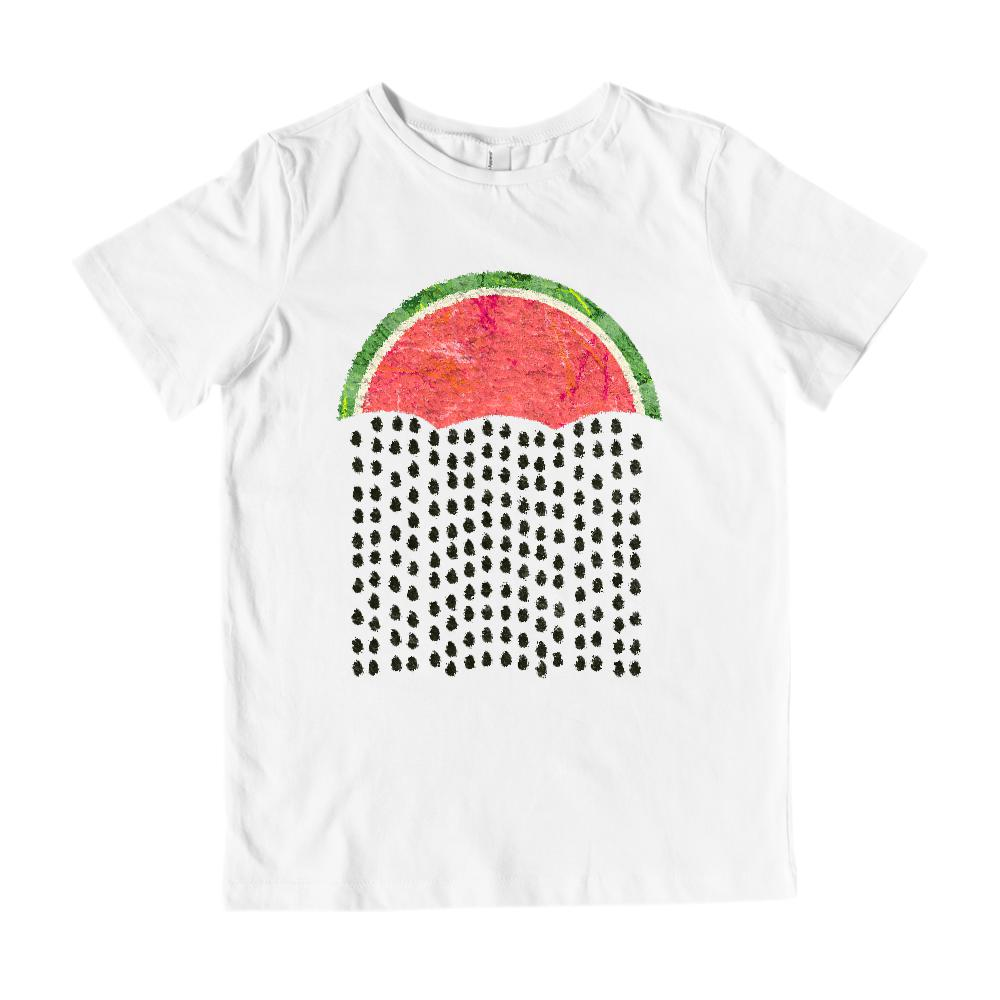 (Gildan Kid's Cotton Tee) Watermelon Rain Umbrella Seed Summer Fresh Fruity
