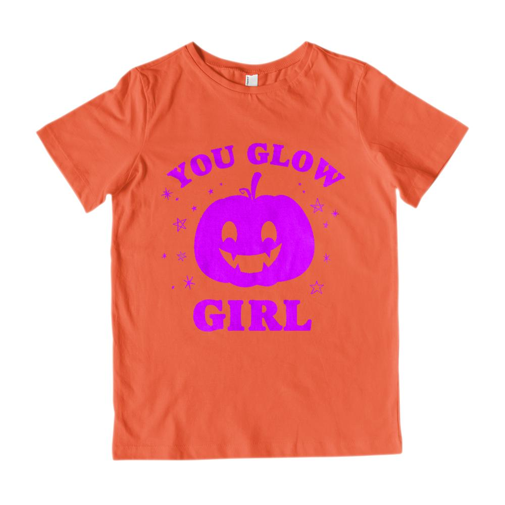 (Gildan Kid's Cotton Tee) You Glow Girl Purple Pumpkin Starry Stars Graphic T-Shirt Tee BOXELS