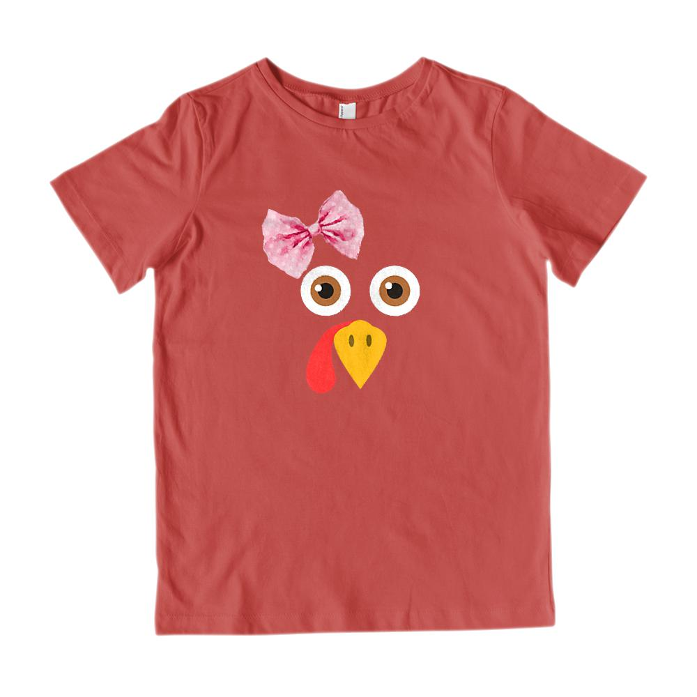 (Gildan Kid's Tee) Girl Turkey Face Thanksgiving Graphic T-Shirt Tee BOXELS