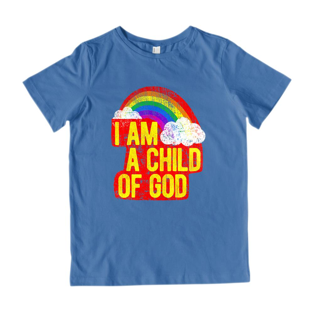 (Gildan Kid's Tee) I Am a Child of God Rainbow Grunge Retro Graphic T-Shirt Tee BOXELS