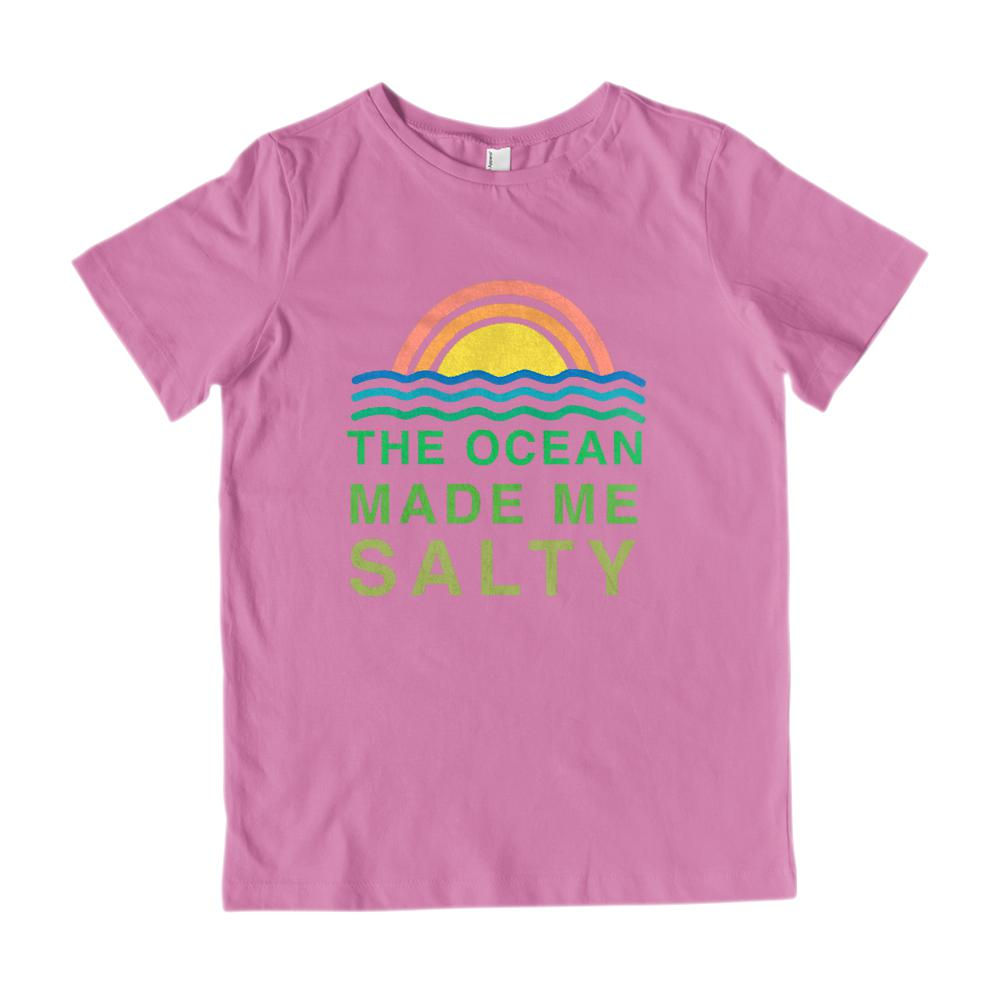 (Gildan Kids Ultra Cotton) The Ocean Made Me Salty Graphic T-Shirt Tee BOXELS