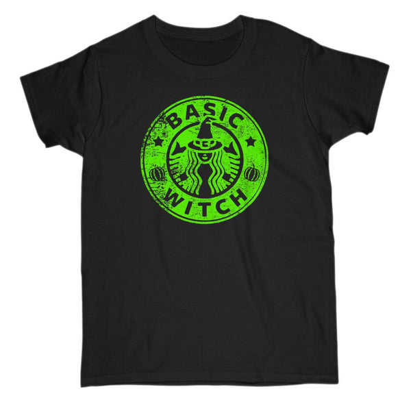 (Gildan Women's Cotton Tee) Basic Witch Coffee Parody (green art) Graphic T-Shirt Tee BOXELS