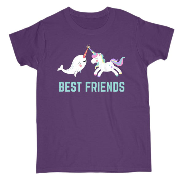 (Gildan Women's Cotton Tee) Best Friends Unicorn and Narwhal Cute Kawaii Graphic T-Shirt Tee BOXELS