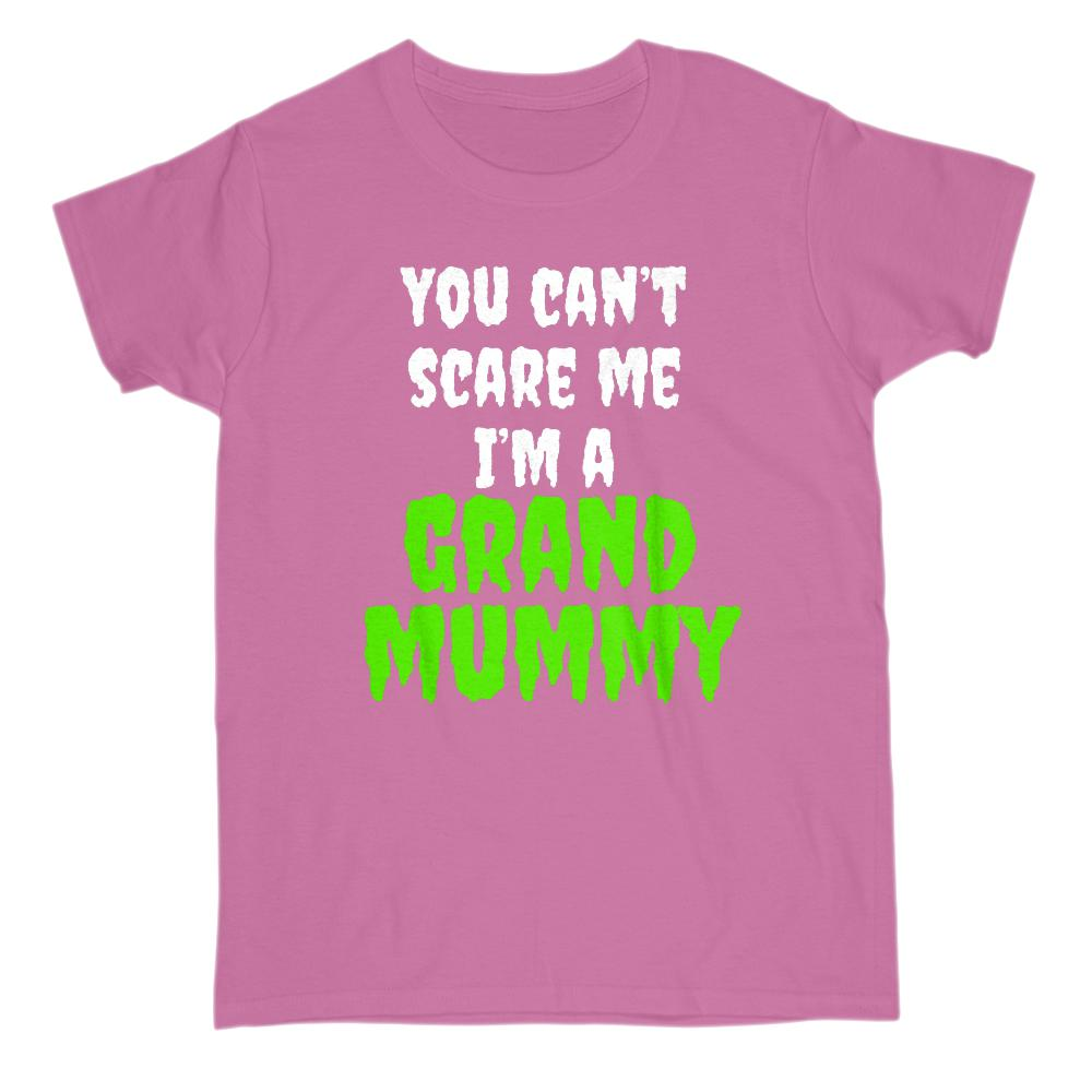 (Gildan Women's Cotton Tee) Can't Scare Me, I'm a Grand Mummy Halloween Graphic T-Shirt Tee BOXELS