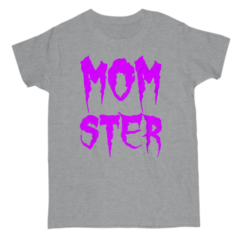 (Gildan Women's Cotton Tee) Momster (mom monster) Purple Cursed Font Graphic T-Shirt Tee BOXELS
