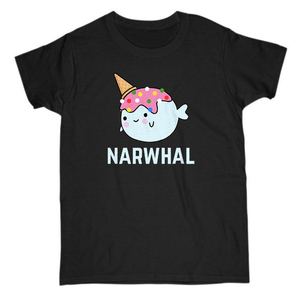 (Gildan Women's Cotton Tee) Narwhal Icecream Cone Kawaii Sprinkles Graphic T-Shirt Tee BOXELS