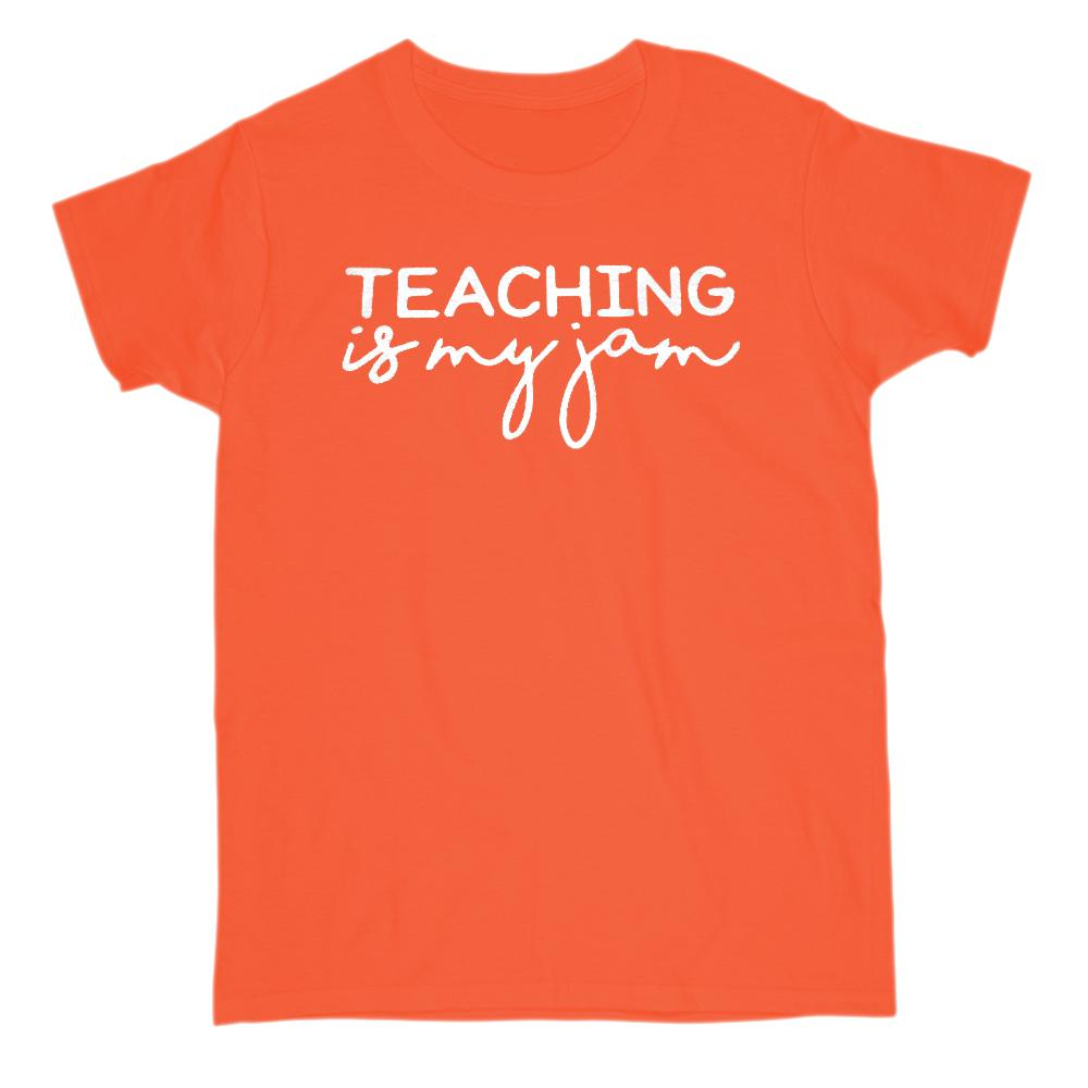(Gildan Women's Cotton Tee) Teaching is My Jam Graphic Stylized Saying Graphic T-Shirt Tee BOXELS