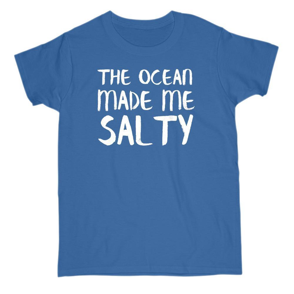 (Gildan Women's Cotton Tee) The Ocean Made Me Salty Womens Graphic T-Shirt Tee BOXELS