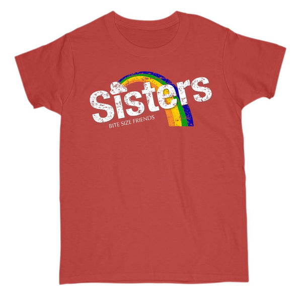 (Gildan Women's) Sisters Bite Size Friends Candy Graphic Rainbow (White Font) Tee Graphic T-Shirt Tee BOXELS