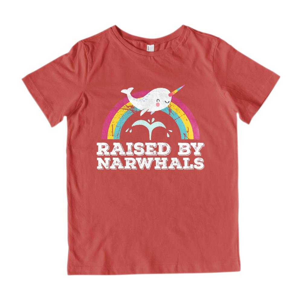 (Gildan Youth Cotton Tee) Raised By Narwhals Retro Rainbow Unicorn of the Sea Graphic T-Shirt Tee BOXELS