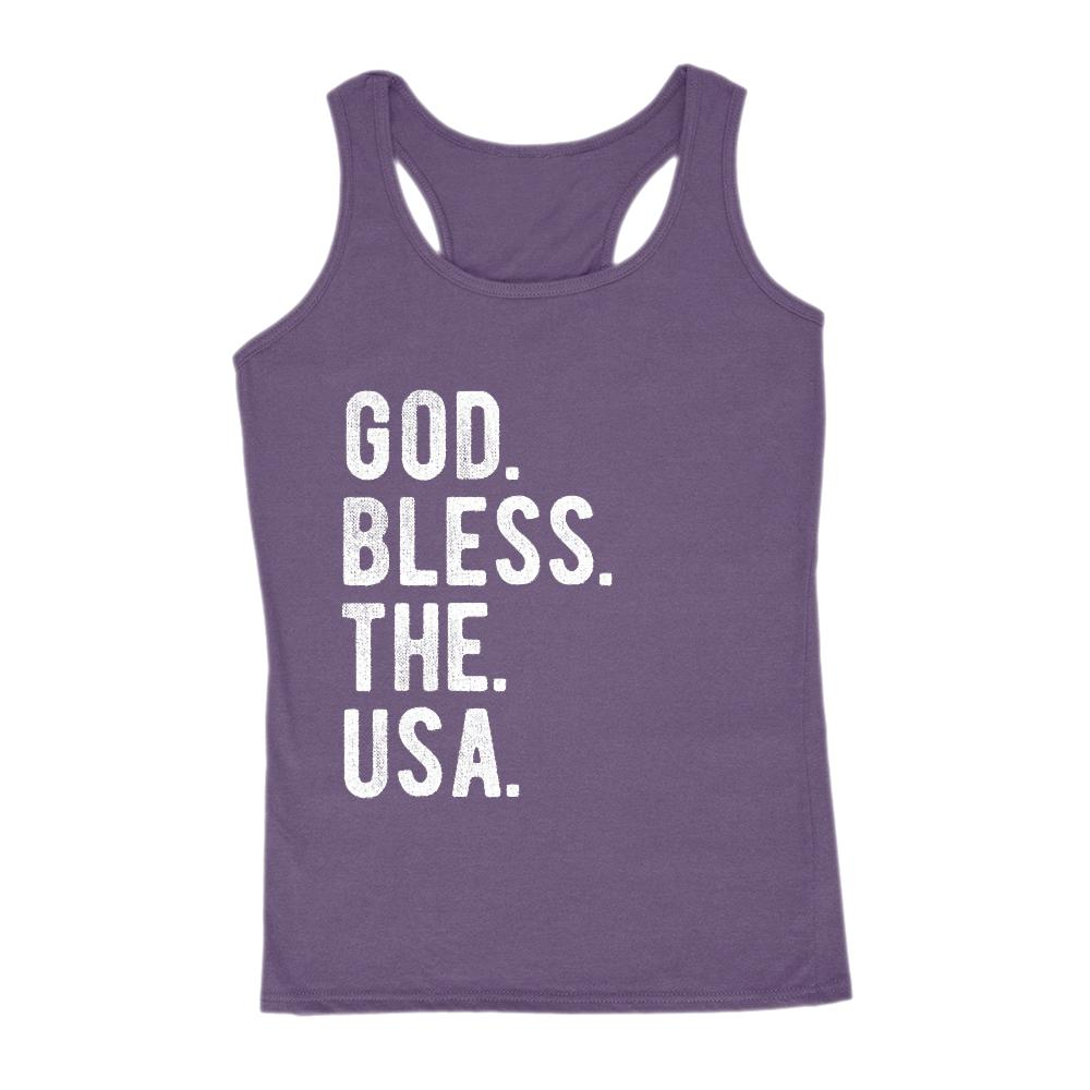 God. Bless. The. USA. Women's Tank Patriotic Graphic T-Shirt Tee BOXELS