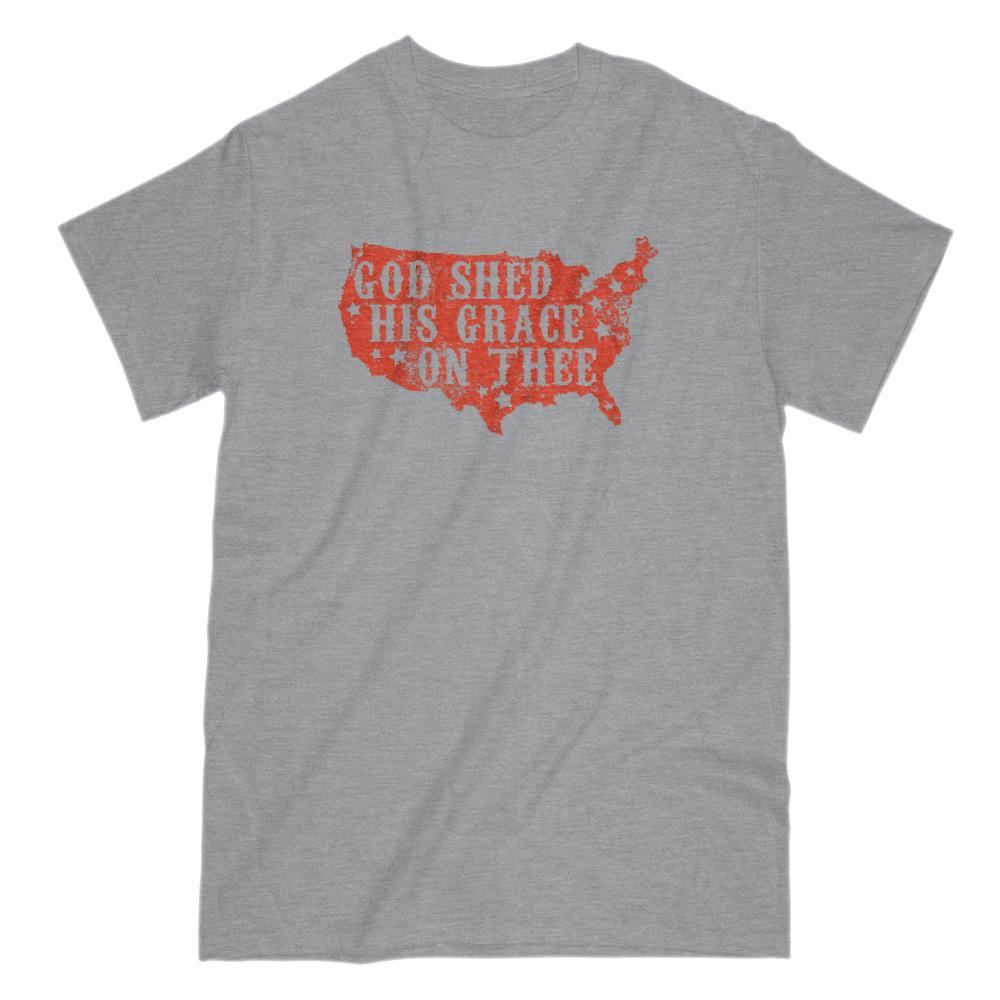 God Shed His Grace on Thee Red Patriotic T-shirt Graphic T-Shirt Tee BOXELS