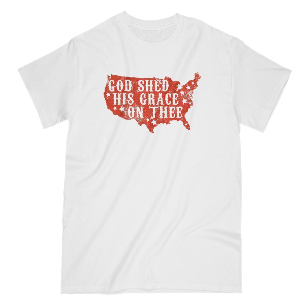 God Shed His Grace on Thee Red Patriotic T-shirt