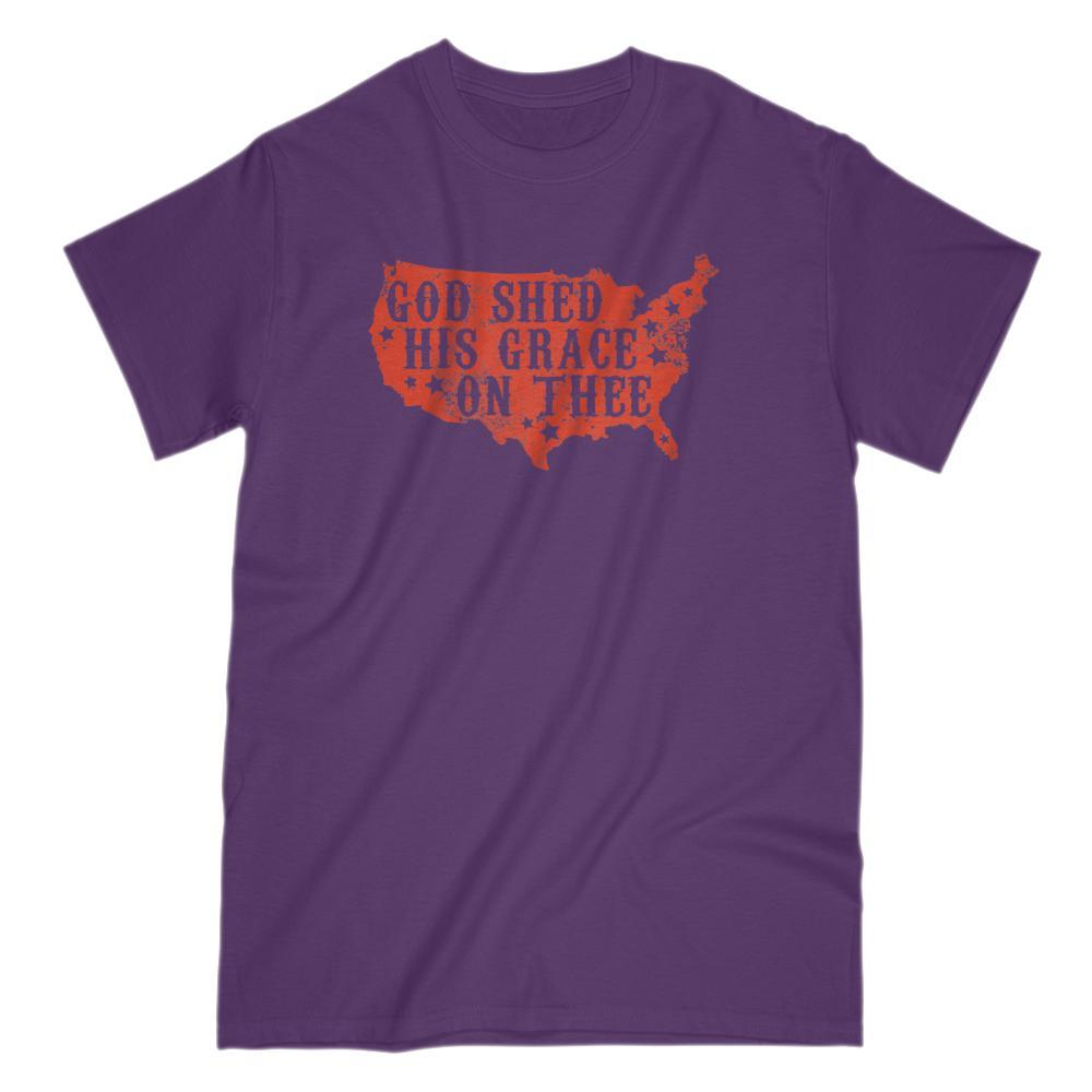 God Shed His Grace on Thee (red) Patriotic Tee v2 Graphic T-Shirt Tee BOXELS