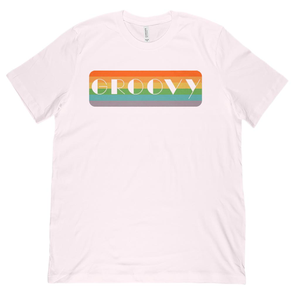 Groovy Retro Rainbow (Unisex BC 3001 Soft Tee) Graphic T-Shirt Tee BOXELS