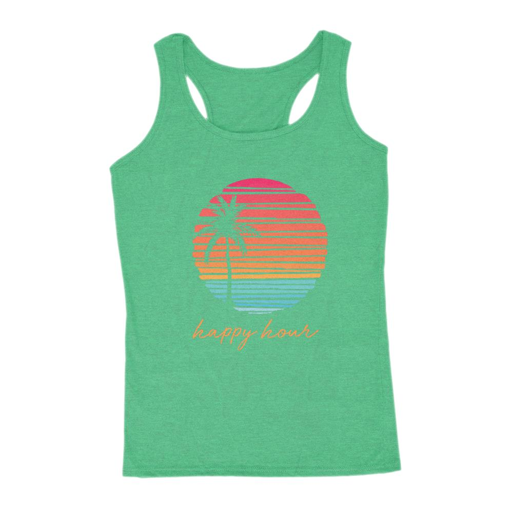 Happy Hour Beach Palm Sunset Women's Outdoors Tank Graphic T-Shirt Tee BOXELS