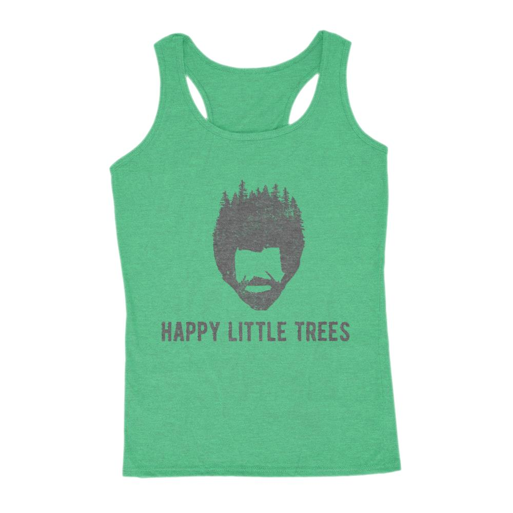 Happy Little Trees Bob Ross (Dark Font) Funny Graphic Women's Tank Graphic T-Shirt Tee BOXELS