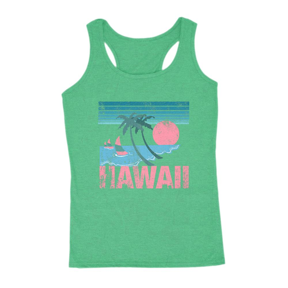 Hawaii Pink and teal Sunset Beach Women's Graphic Tank Graphic T-Shirt Tee BOXELS
