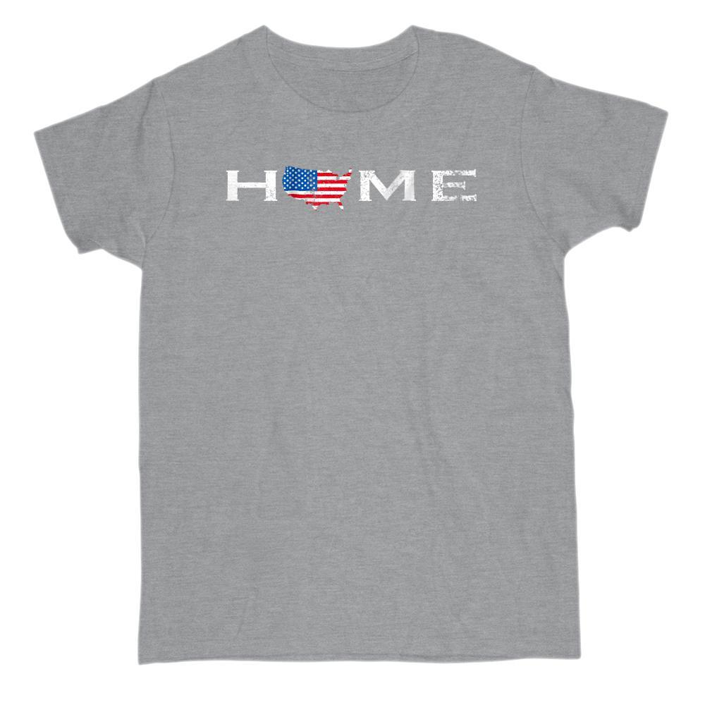 Home America Map Patriotic T-shirt Graphic T-Shirt Tee BOXELS