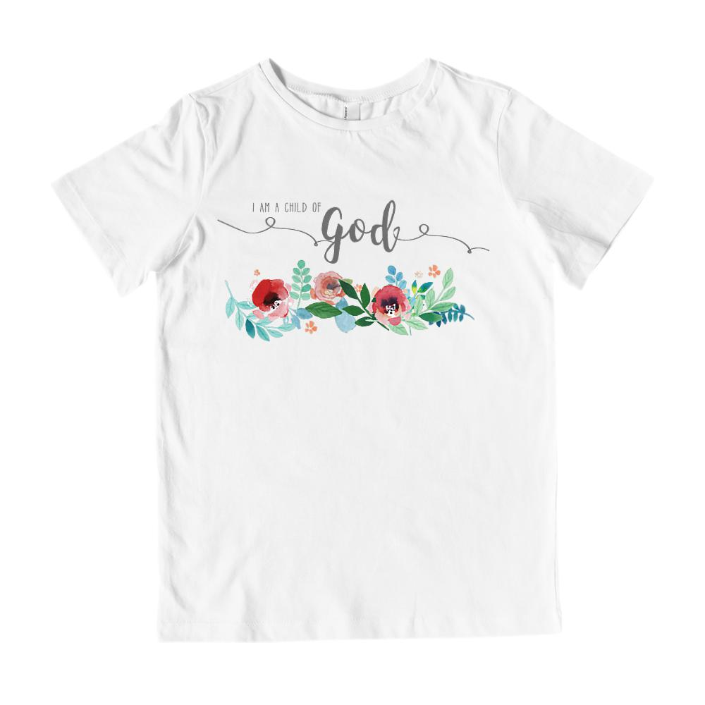 645720680 I Am a Child of God on White (Kid's Gildan Cotton Tee) Graphic T